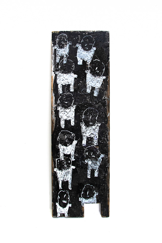 Donald Mitchell, Untitled (DMi 589), 2019, Acrylic on found wood, 11 x 35.75 x 1.5 inches