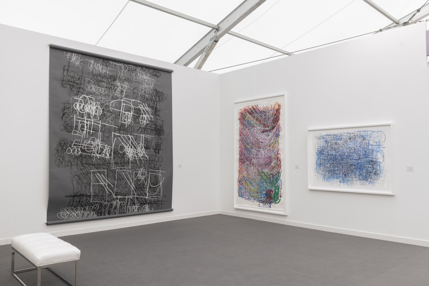 Installation of work by Dan Miller at Andrew Edlin's booth at Frieze New York 2019