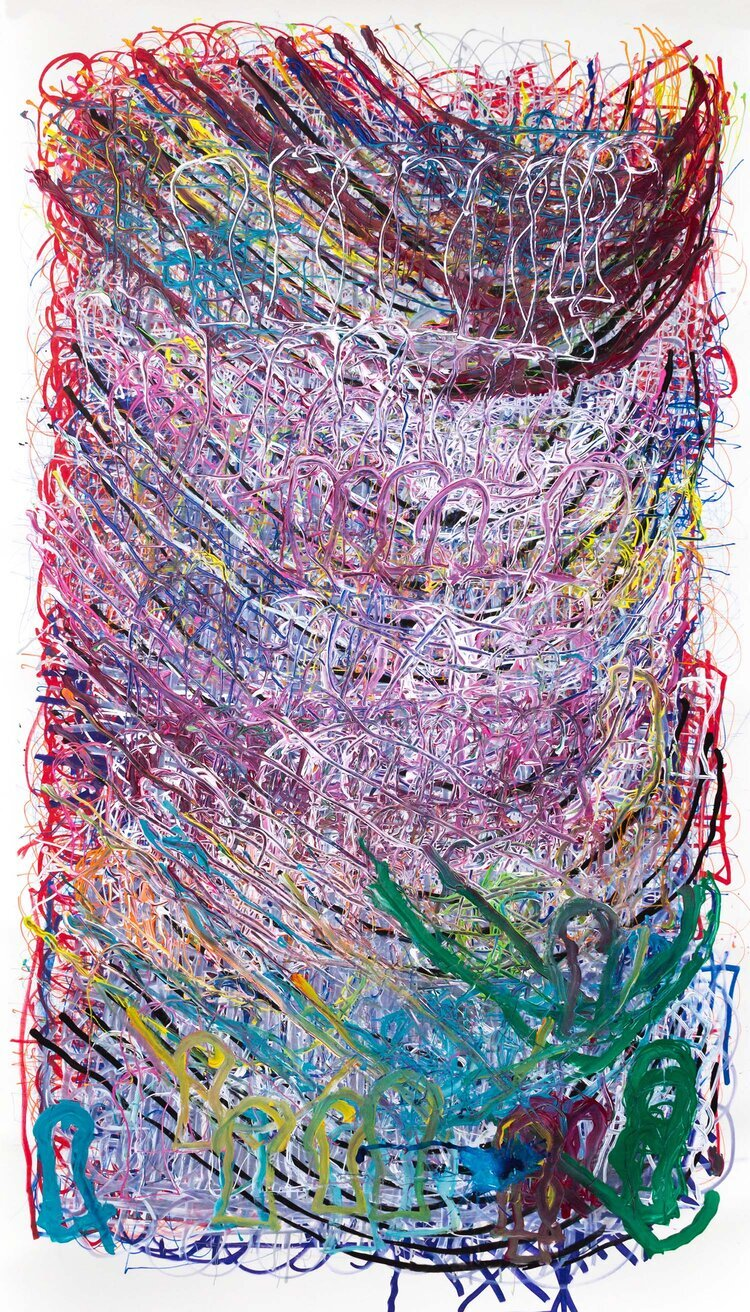"Dan Miller, Untitled, (DM 1102), 2019, Work on paper, 55.75""x98"", courtesy Creative Growth Art Center"