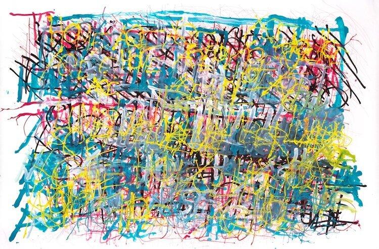 "Dan Miller, Untitled, (DM 1193), 2019, Work on paper, 55.5""x84"", courtesy Creative Growth Art Center"