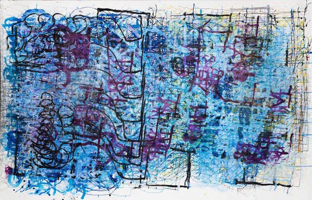 "Dan Miller, Untitled, (DM 1107), 2019, Work on paper, 55.5""x86"", courtesy Creative Growth Art Center"