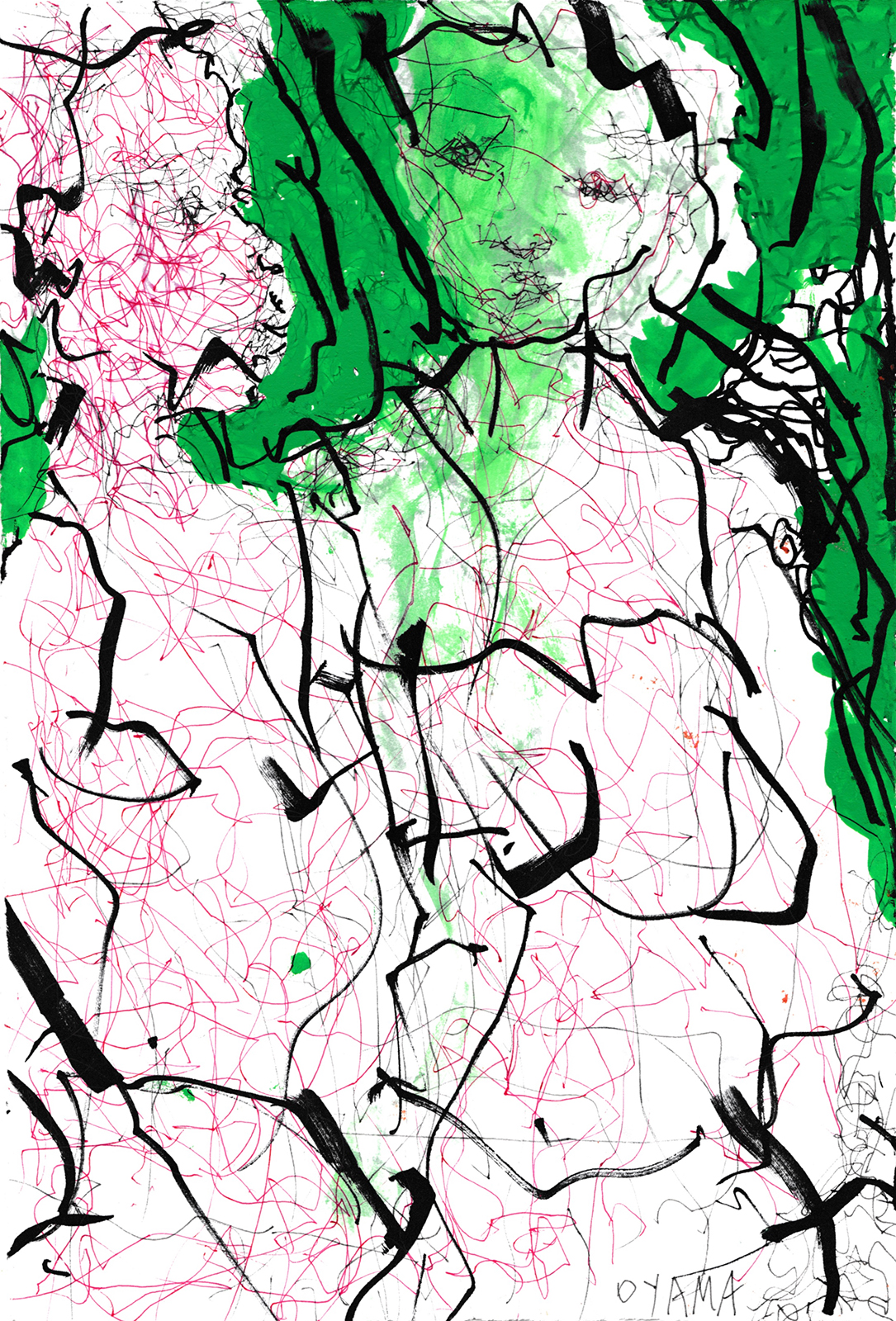 """Oyama's Egon Schiele-esque drawings are made with the artist's non-dominant hand. """"Untitled (CO 052),"""" 2016, Mixed media on paper"""