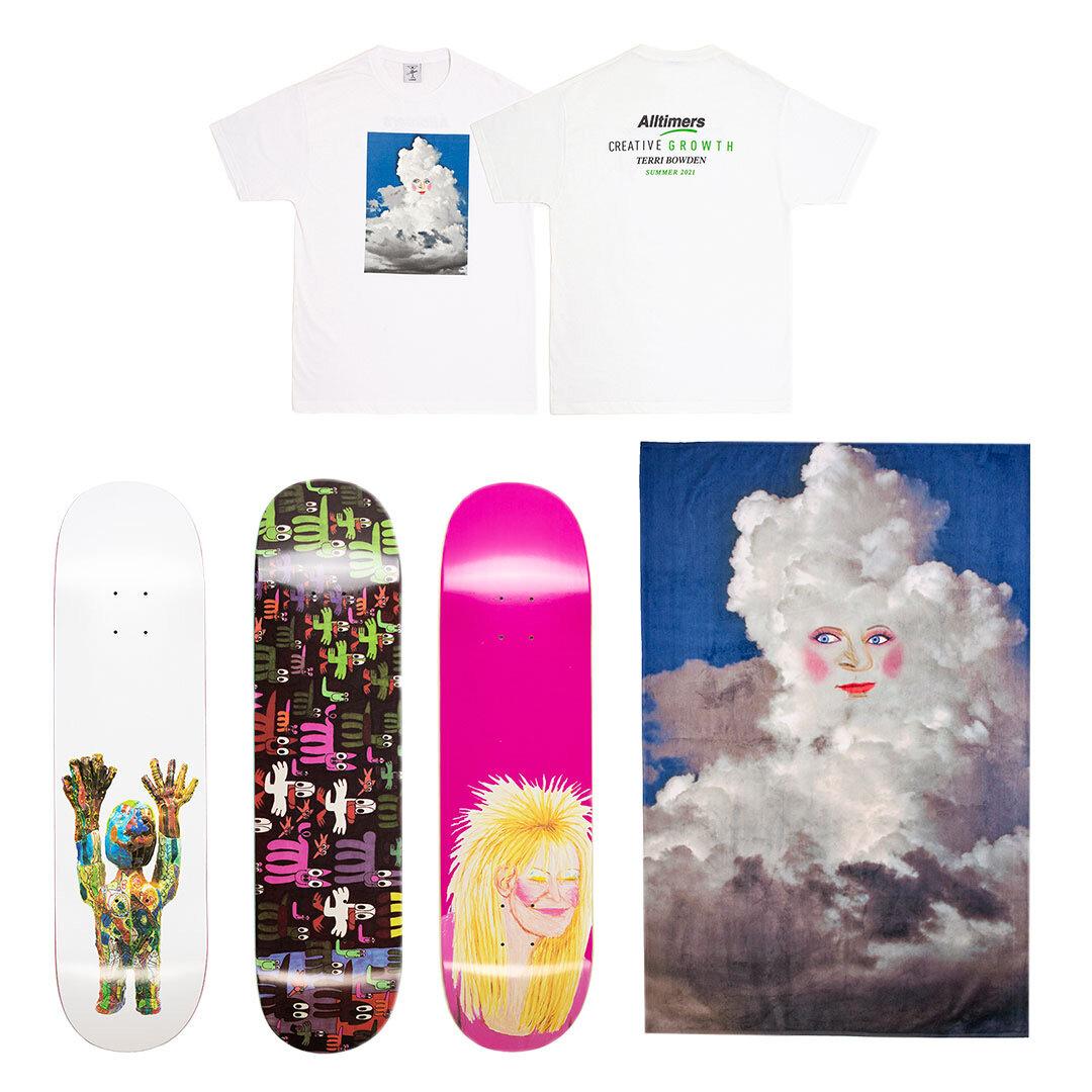 T-shirt and beach towel design by Terri Bowden, and three skateboard decks featuring work by Cedric Johnson, Paul Fields, and Terri Bowden.