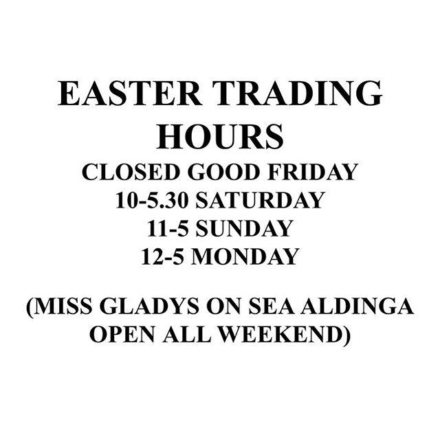Easter long weekend trading hours 🐣 #adelaide #rundlestreet #mrchoon #missgladyssymchoon #missgladysonsea #gladyscorner