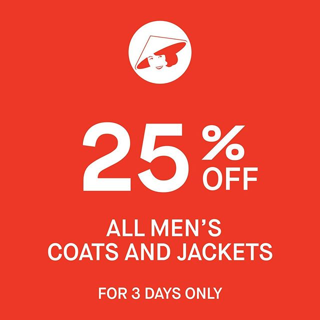 🚨 MR CHOON SALE ALERT 🚨 25% off all men's coats and jackets! Ends Sunday #mrchoon #adelaide #rundlestreet #southaustralia