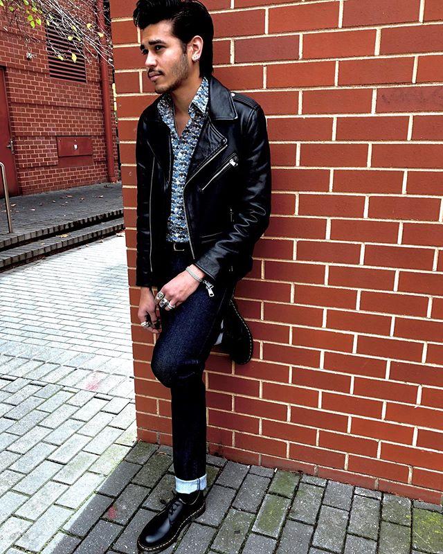 It's leather weather! Rafiq wears @neuwdenim leather jacket, @edwineurope jeans, @drmartensausnz 1461 shoes, @phillipsshirts liberty shirt. #eastendadelaide #missgladyssymchoon #mrchoon #adelaide