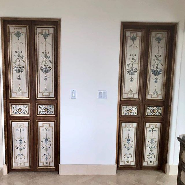 Gorgeous French inspired master bath designed for a client! Love these beautiful doors! * * * * #Frenchmasterbath #Limestonefloors #Herringbonefloors #Handpainted  #Interiordesign #Vintage  #Frenchinspiration #Bathroomremodel #Masterbathroom  #Remodel