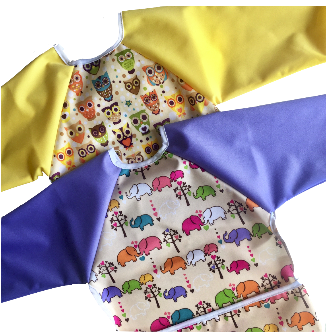 Copy of Owls and Elephants Coverall Bibs with Sleeves