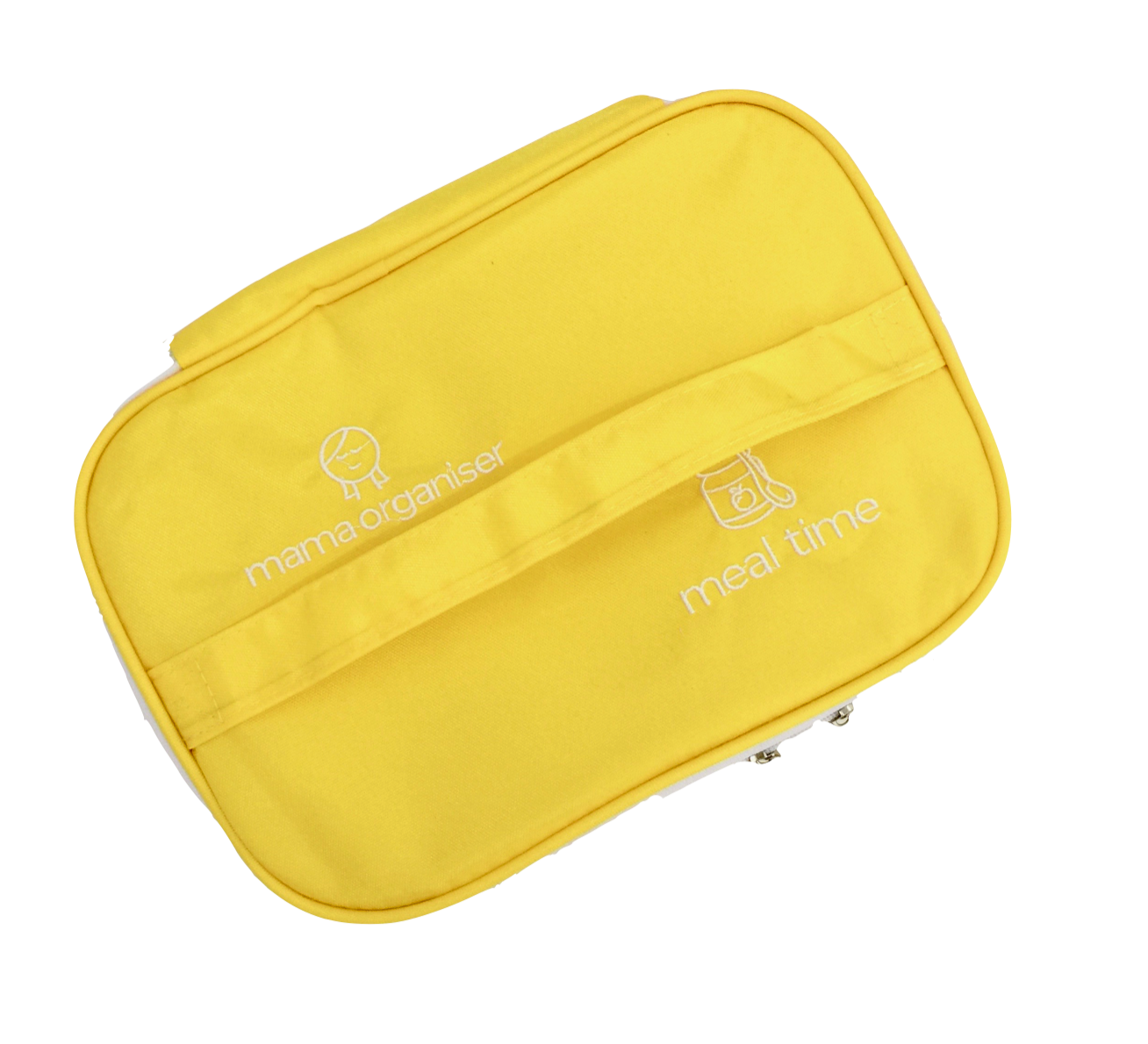 Meal Time Pouch - Meal Time Pouch: Yellow water-resistant nylon on all sides. A foldable box-shaped bag for snacks and meals. Includes elastic bands and mesh pockets for cutlery, bibs, wipes and extras. Malleability of the pouch allows for bottles, bowls or Mama O's dispenser spoons and yum tubes to fit inside and for it to take up minimal room when empty.