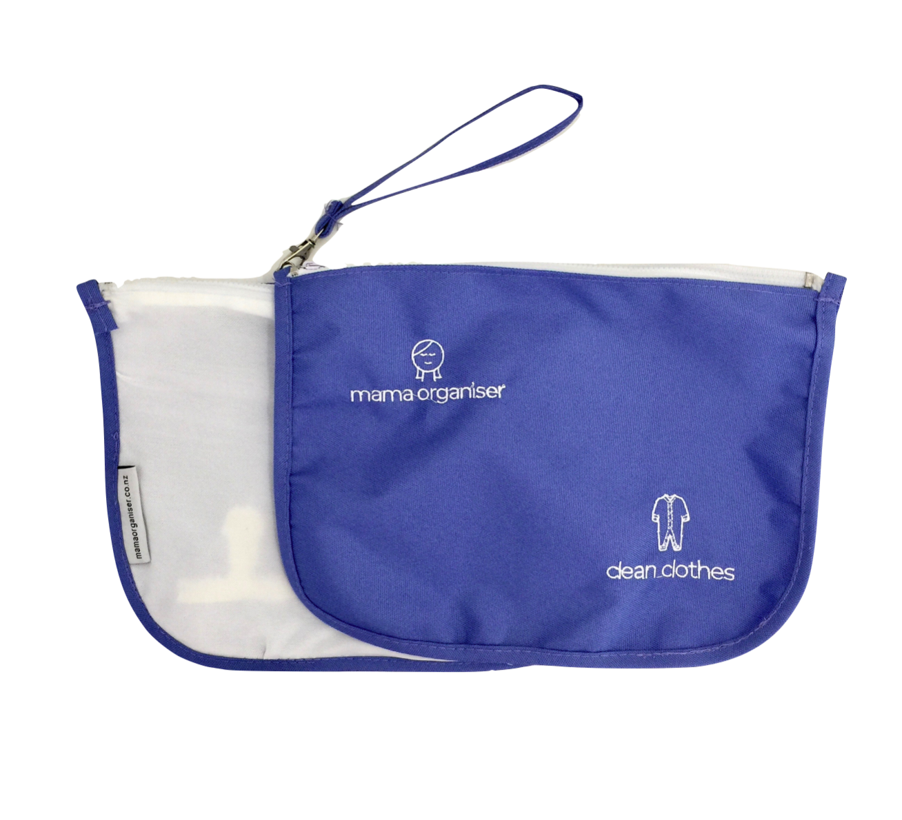 Clean Clothes Pouch - Clean Clothes Pouch: Dark blue water-resistant nylon on one side and white stretch mesh on the other. fits several changes of clothes. Great in changeable seasons or when your child likes to frequently get dirty!