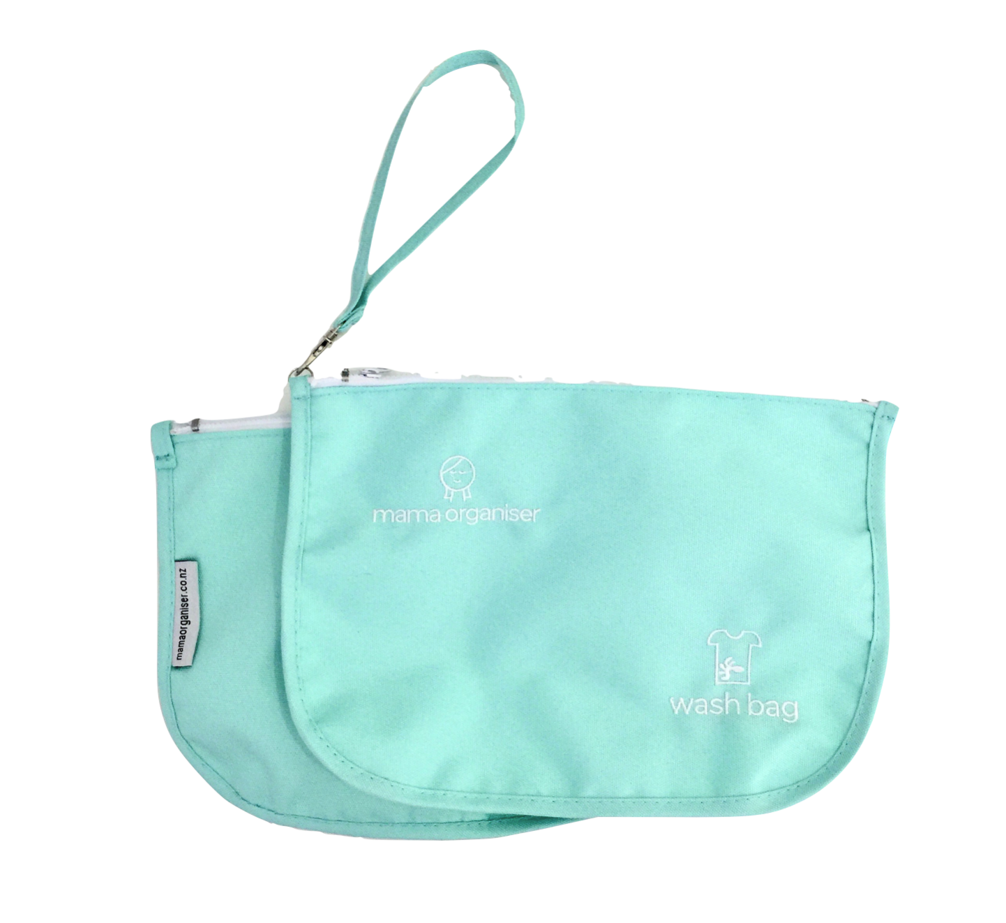 Wash/Laundry Pouch - Pastel blue water-resistant nylon on both sides. For dirty nappies, wipes, clothes, bibs etc. Keeps your other gear tidy and clean until you get home to wash.
