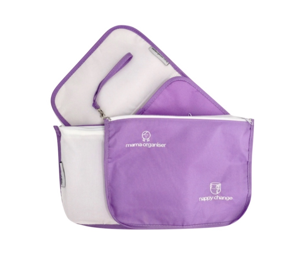 Nappy Change Pouch - (Includes trifold change mat): Violet water-resistant nylon on one side and white stretch mesh on the other. Two large pockets to fit the change mat and nappies. Room for stacks of either cloth or disposables, plus wipes and creams. If dashing out and not taking all your pouches, you can easily put a spare change of clothes in here too.