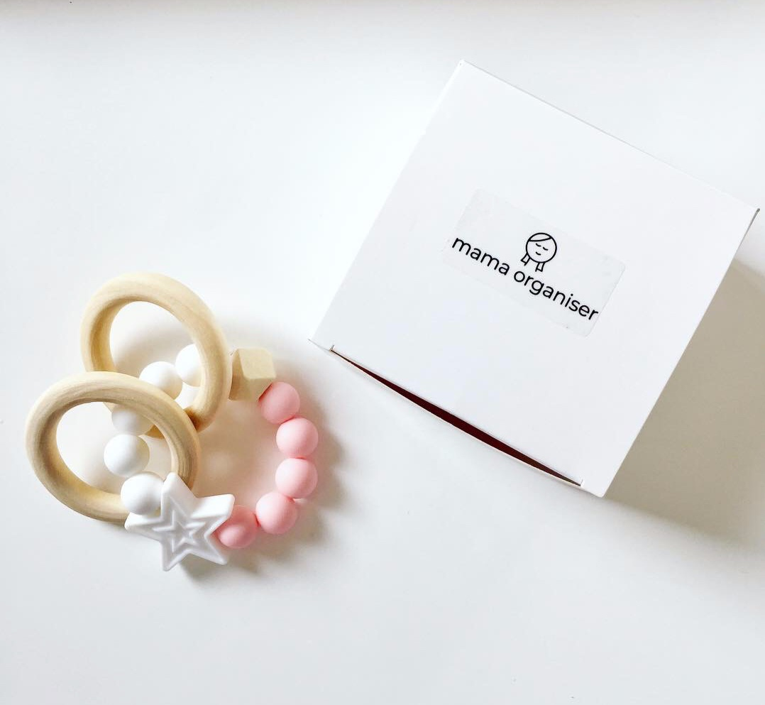 *Bonus Gift - Natural Teether - Beautifully crafted, natural wooden and (food grade) silicone bead teething rings that are perfect for little hands and delicate gums. Choose from white/pink, white/teal, white/purple, white/blue/pink.
