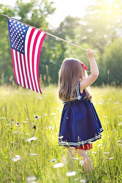 Toddler girl holding american flag in field