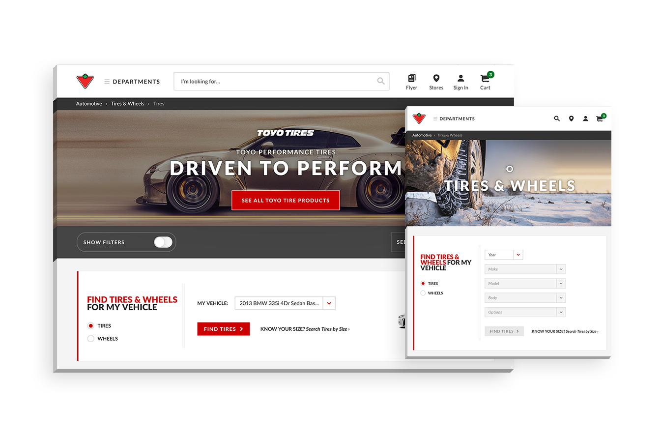 Canadian Tire - A responsive redesign for Canadian Tire's e-commerce website with the integration of new features to help the user browse for the right product, and to provide an enhanced online shopping experience