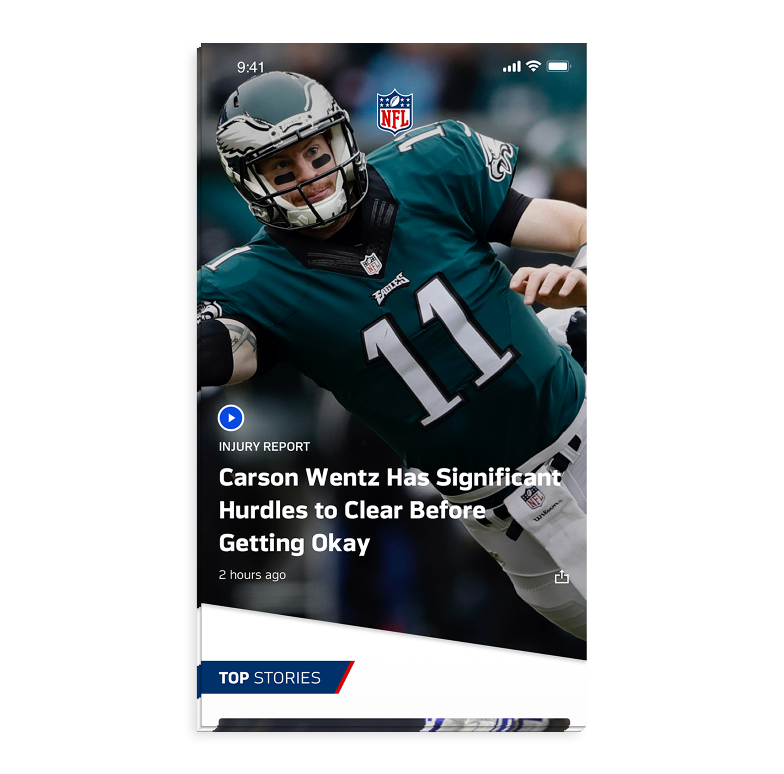 - Once users land on the News page of the NFL App, they are greeted with a large hero image featuring the top news around the league or breaking news about a team or player.