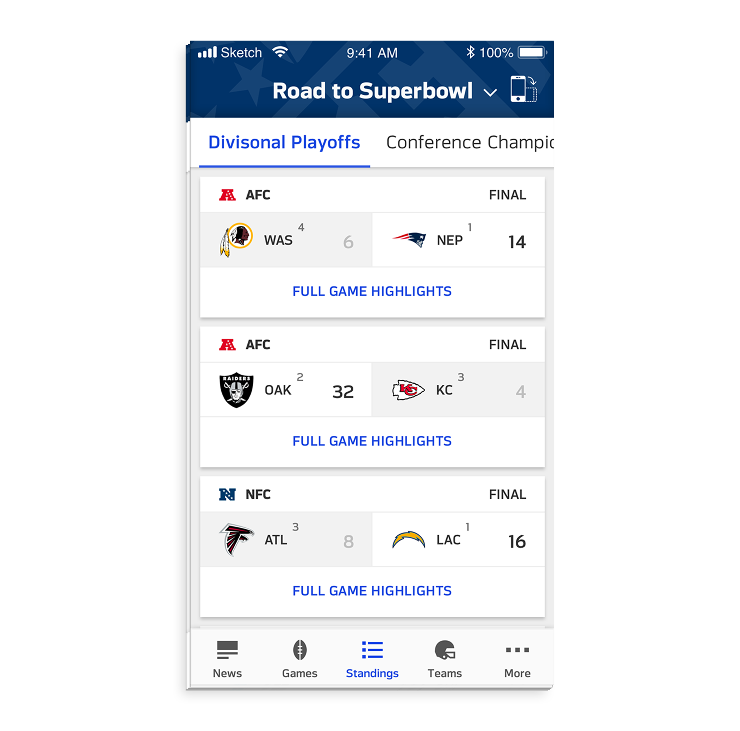 - Users can see the journey to Super Bowl for each team.