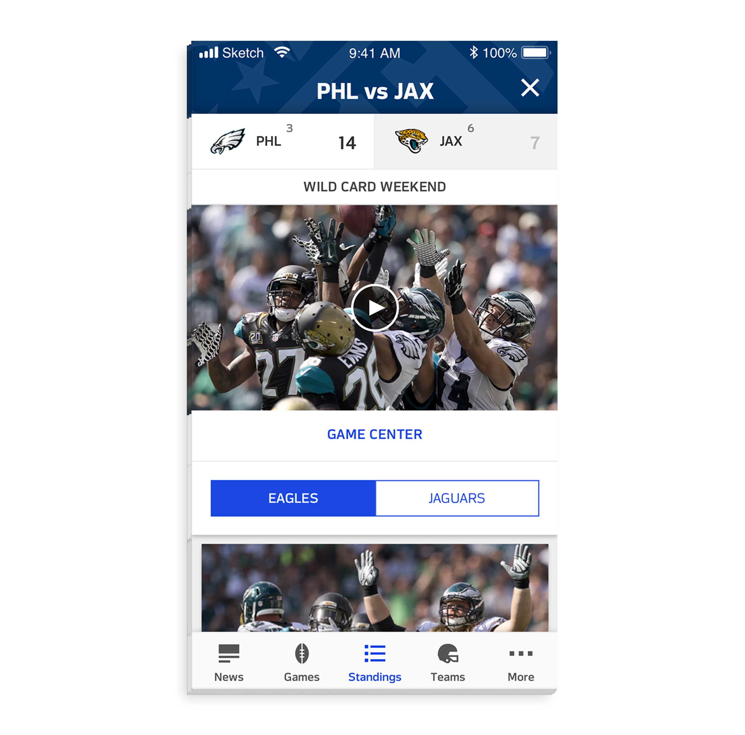 - Each playoff matchup card can be tapped to display more details, such as videos and articles, about that game. The content is filtered by a segmented control for each team, allowing for a more organized feed.