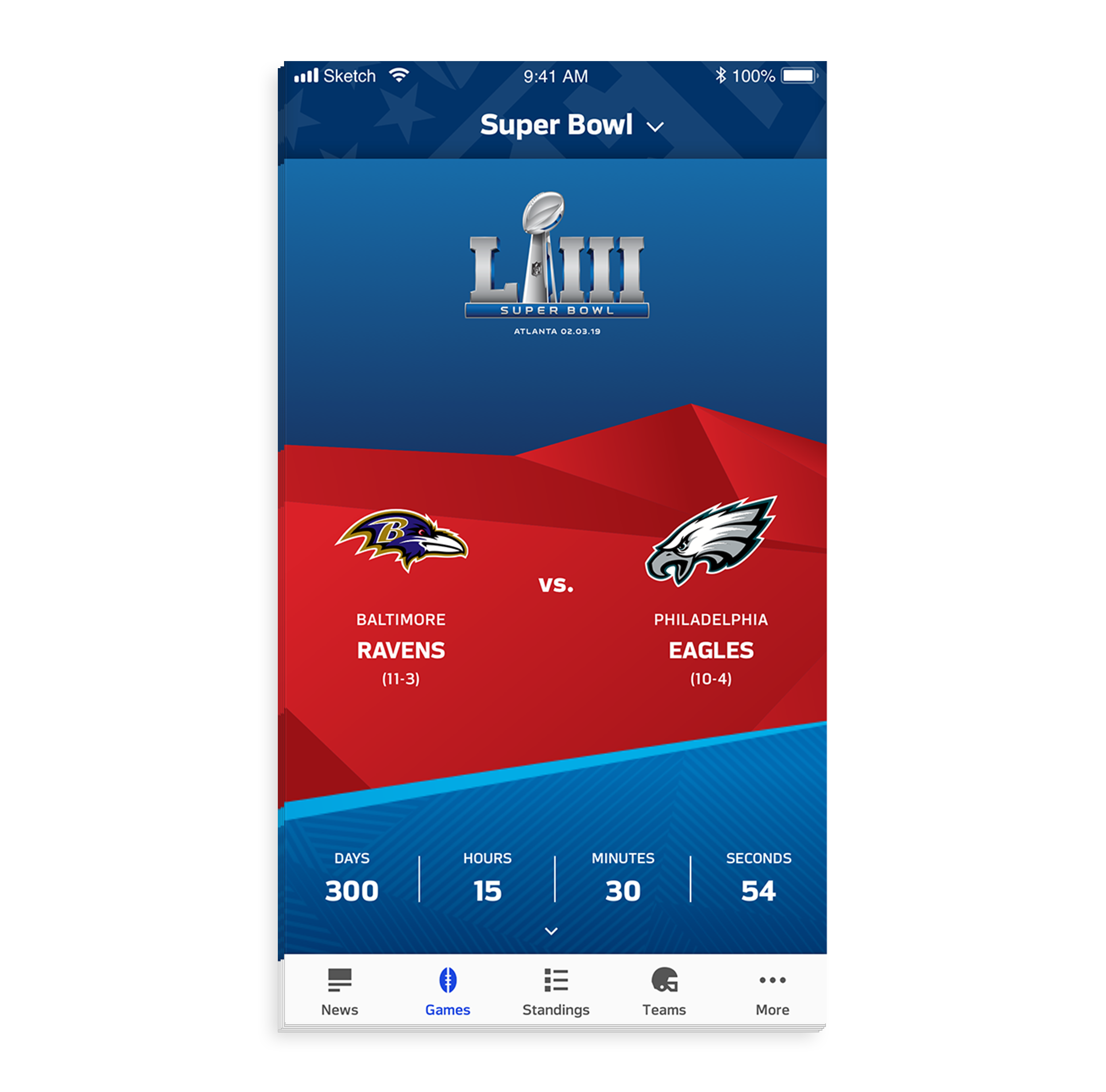 - When users land on the Super Bowl game page, they are greeted with a countdown clock to Super Bowl and the team matchup. This component's design can be reused for other events based off of the NFL style guide.