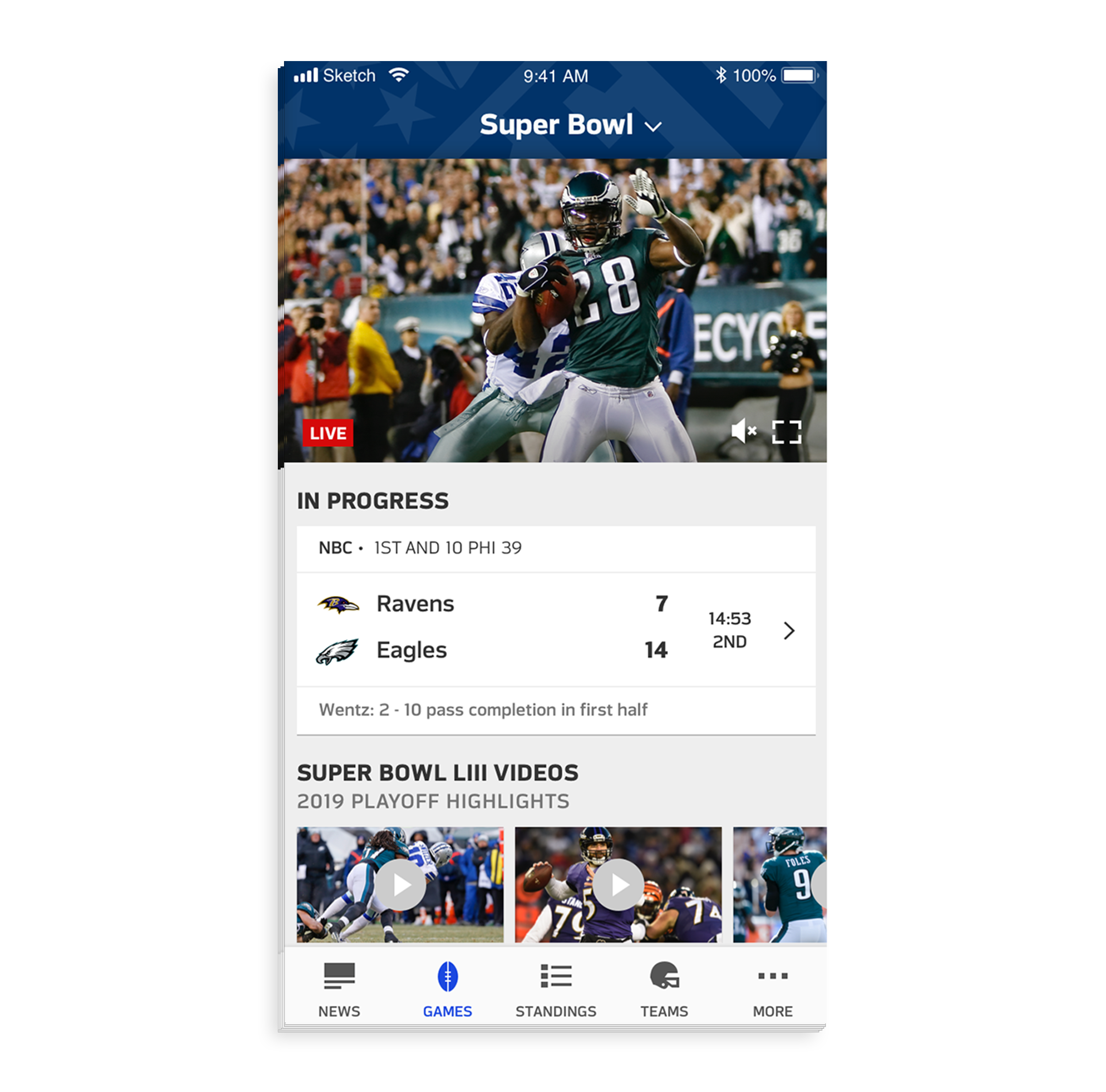 - Once users scroll past the hero team matchup component they will see an inline video previewing the matchup on the pregame live stream during game day (with cable provider login credentials), and highlights during post game.