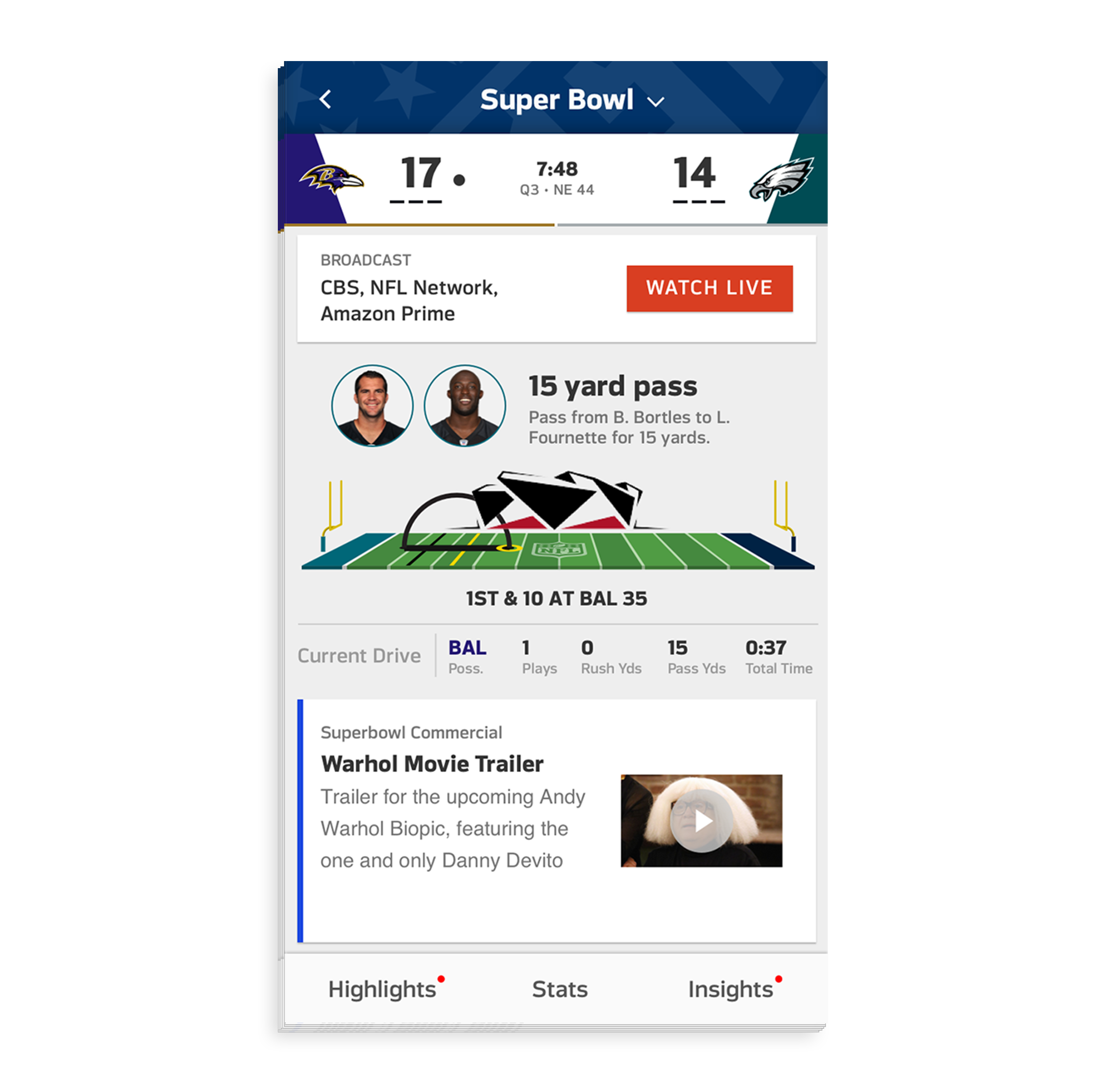 - Users can discover more about the matchup on the game's detail page. The top of this page will have an animated drive chart to provide users who can't watch the game live with a visual breakdown of what's happening on the field.