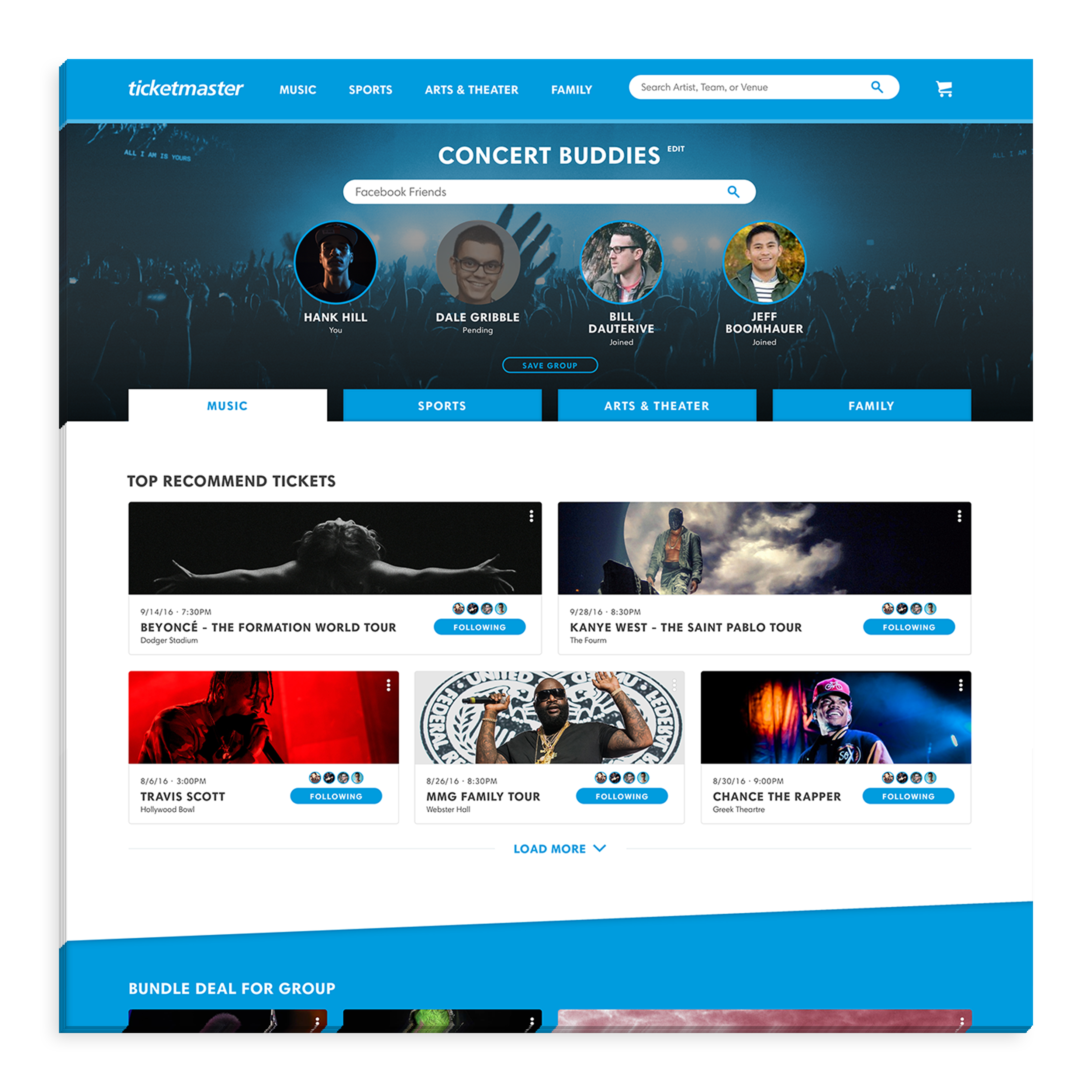 - Users can log in to Ticketmaster through Facebook, which will import their likes and list of friends from the social media platform. Users then can create custom groups, and invite friends to join if they share an interest in attending an event together.
