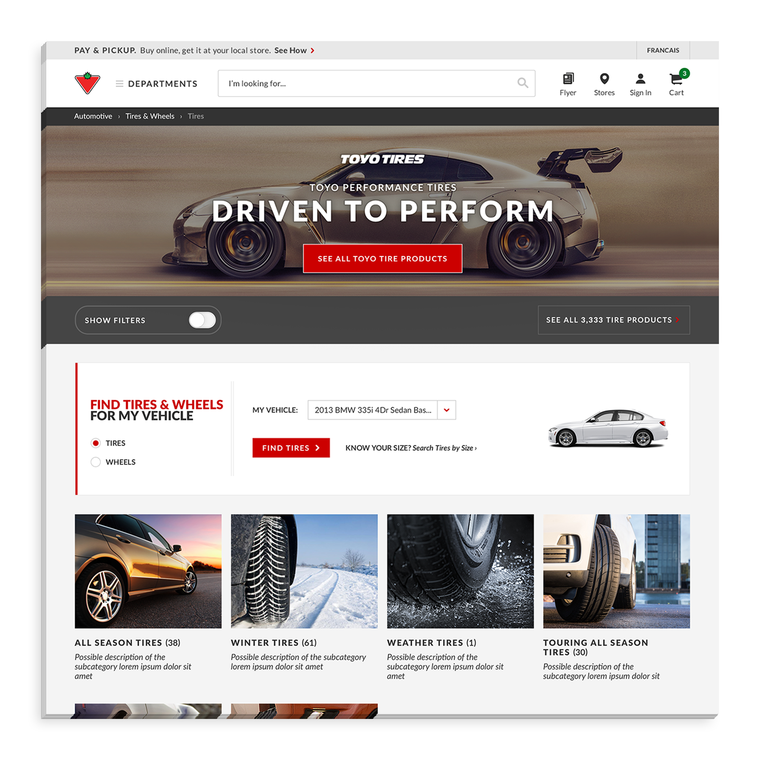 - The tire-finder tool allows Canadian Tire users to select wheels and tires for their vehicles even if they don't know their tire dimensions by inserting their car type, year, make, and model., They can also save the vehicle settings for future use.
