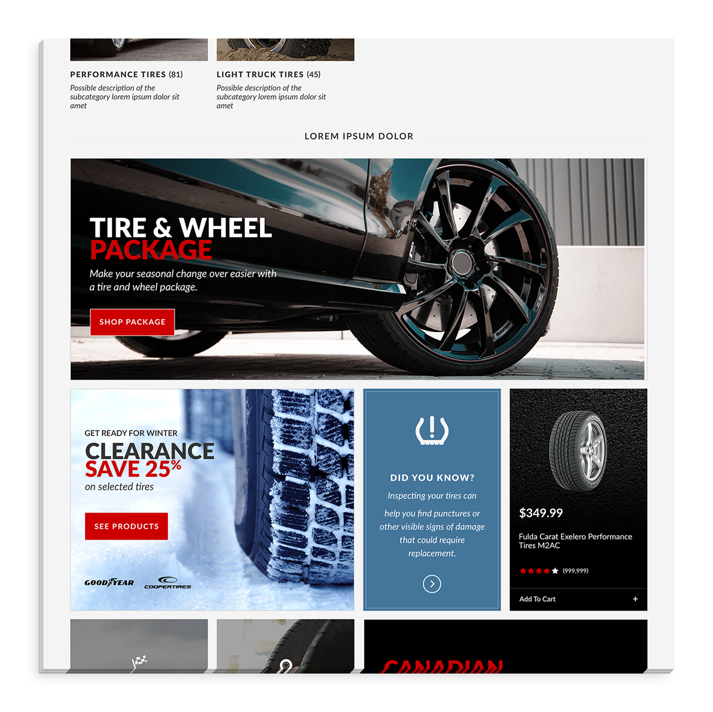 - Canadian Tire's old website displayed a lot of ads paid for by sponsors. Instead of displaying ads in an iFrame, we incorporated the them in the product feed to mimic the look of the weekly flyer.