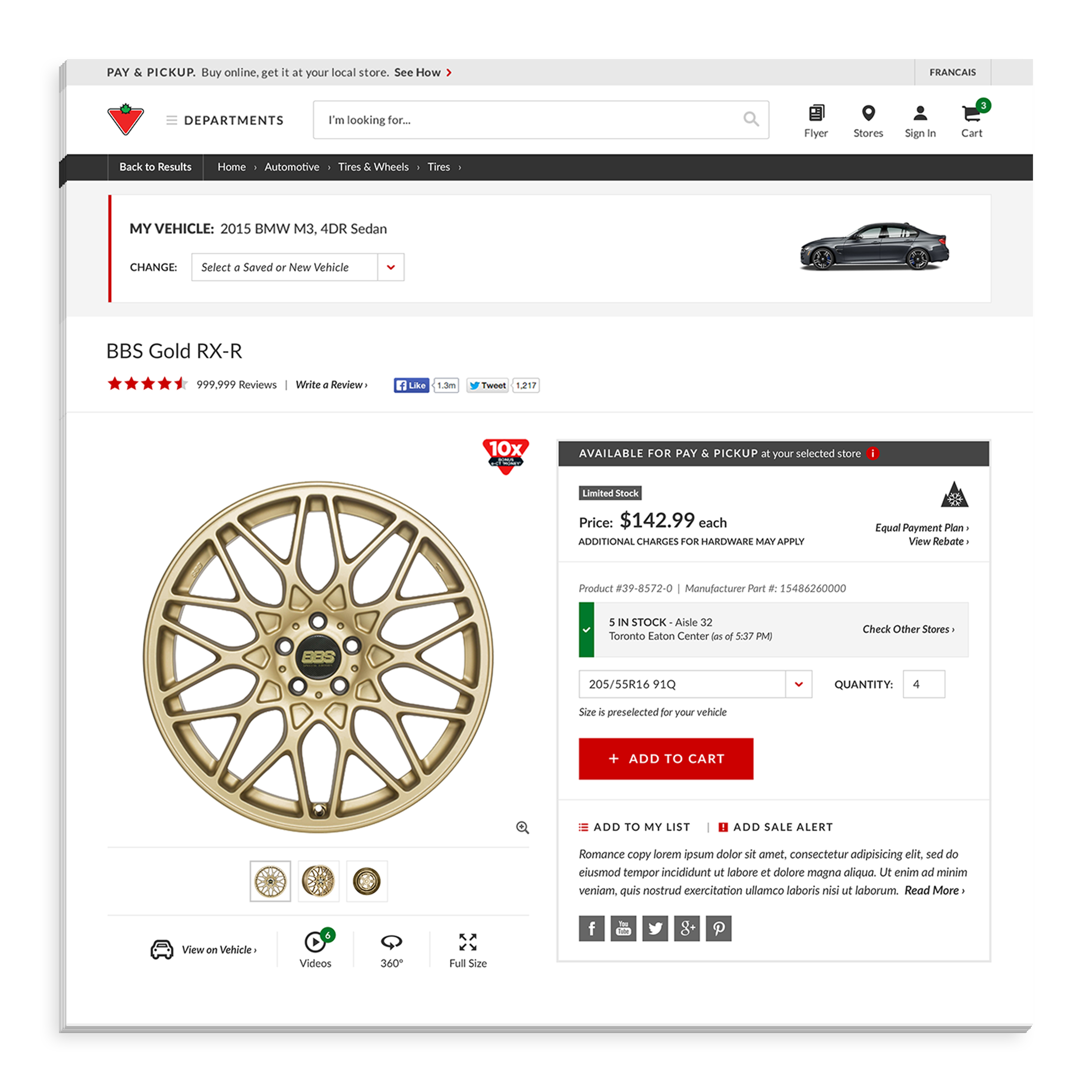 - Users can find more information (specs, photos, etc.) about a wheel or tire on the product detail page. Users can also view the product on the vehicle.