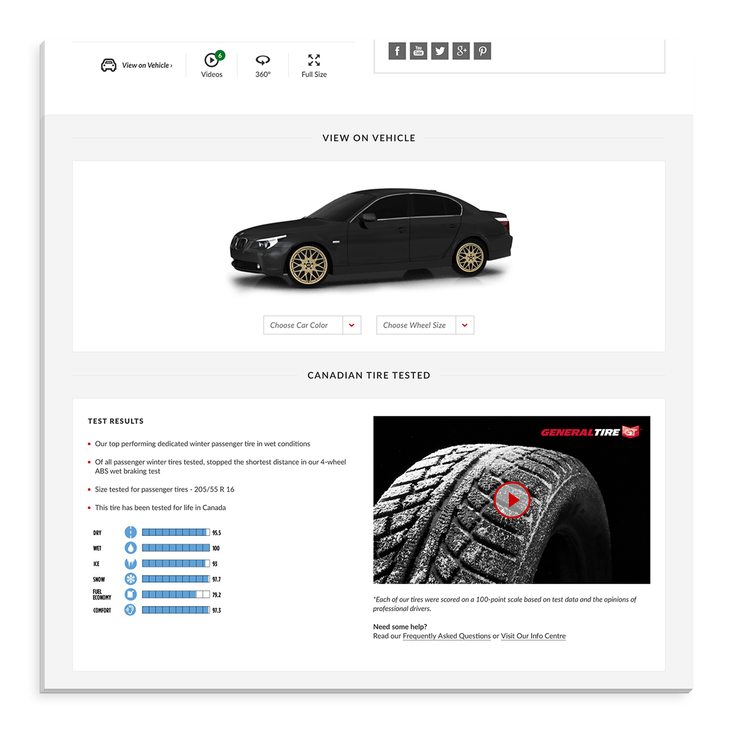 - The view on vehicle tool will access users' saved vehicles and automatically display the desired product on the default vehicle. Below they can see the full product specs based on tests conducted by a Canadian Tire expert.