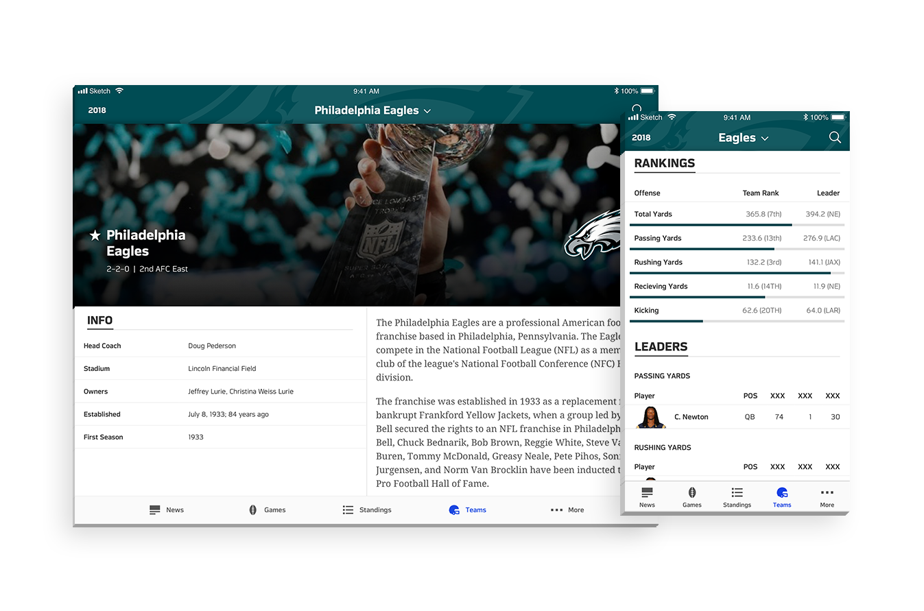 Teams - NFL App's redesigned Teams page, which displays important team information such as stats, awards, schedule and roster