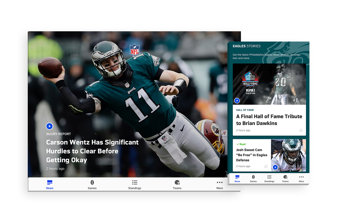 News Feed - A redesigned News section for NFL's native mobile app adopting NFL's newest visual design system, as well as custom features requested by fans after the app's MVP launch