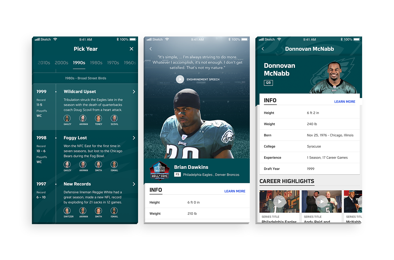 NFL 100 - For the 100th season of football, the NFL wanted to showcase important moments of football history by using a new console called DB100, giving users commemorative football facts from the last 100 seasons