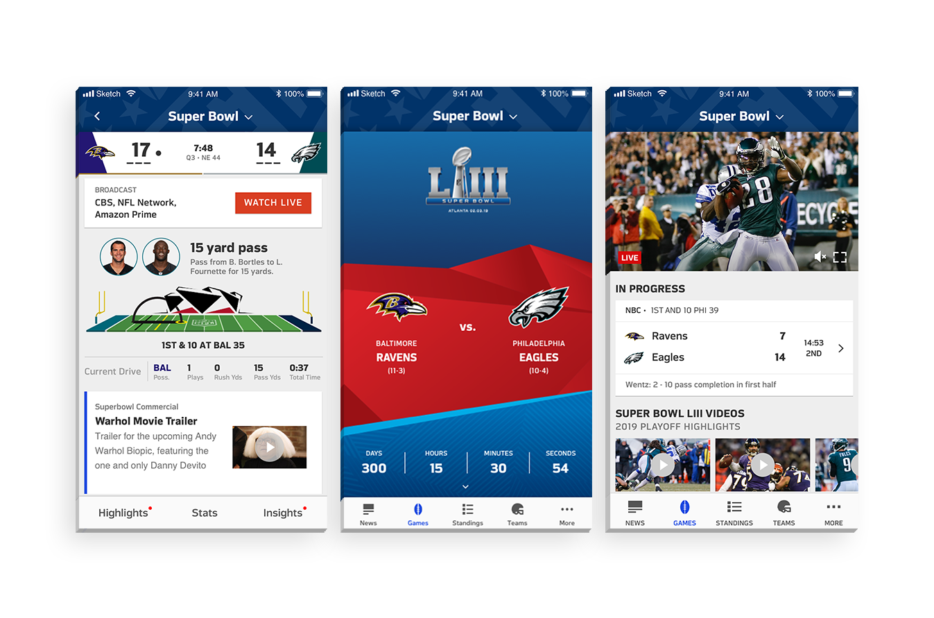 Super Bowl Game Page - The details page for the most important game of the year, giving the special event a one off look and feel while staying within the guidelines of the design system