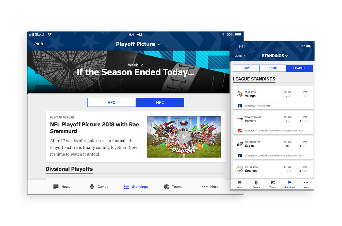 """Standings - A redesign of NFL App's Standings section to display where teams currently rank, as well as a content piece called """"Playoff Picture"""""""