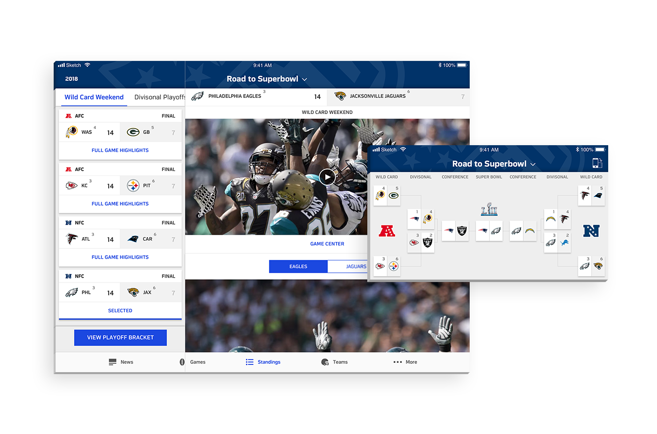 Road to Super Bowl - An editorial section of standings showcasing all the teams in the playoffs during the current season, and the collections of content related to their journey toward the Super Bowl