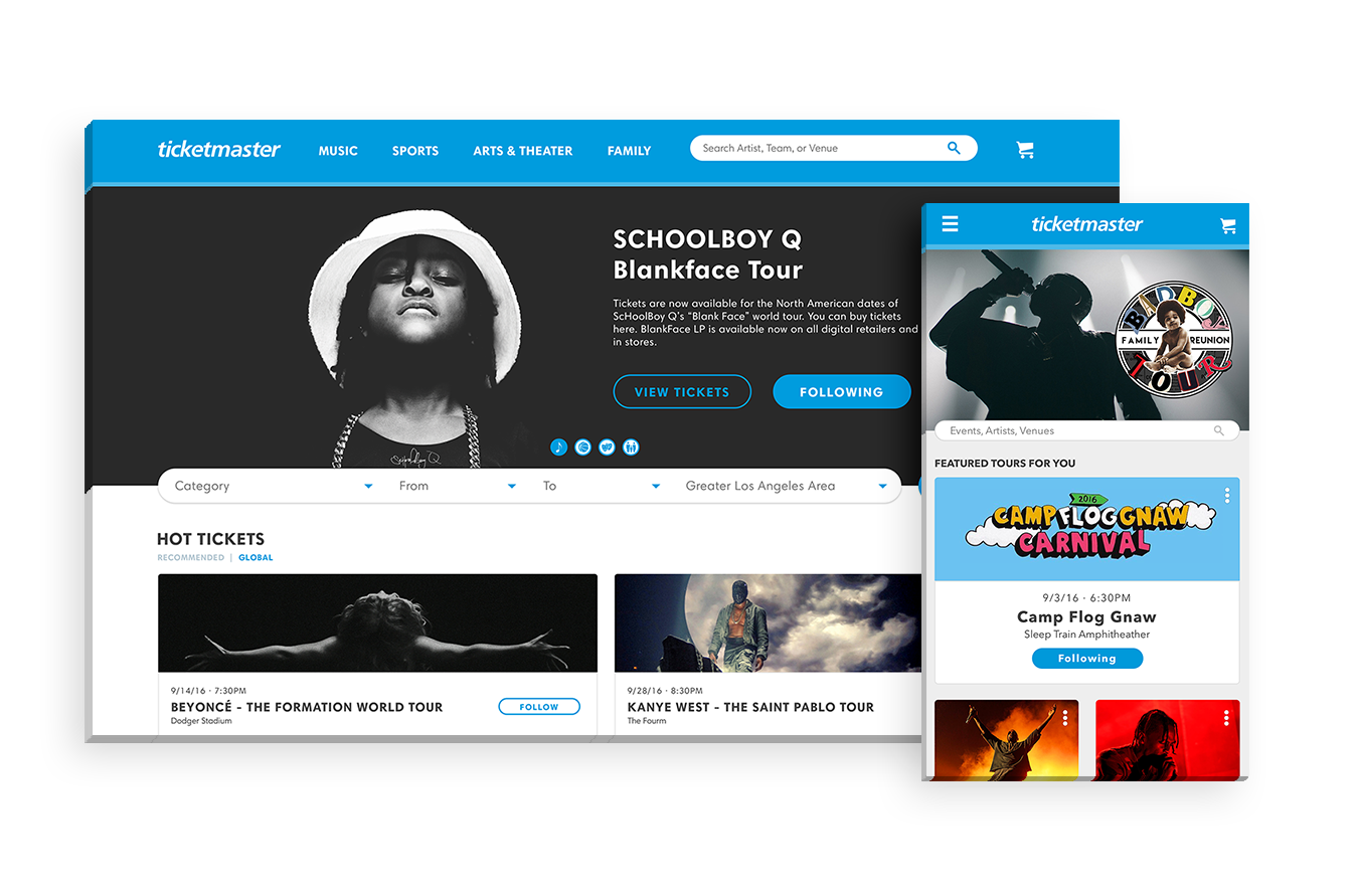 """Ticketmaster - A responsive and experience-enhancing web redesign for Ticketmaster that adopts external APIs, as well as Ticketmaster's internal """"Discovery"""" API, to better understand fan / consumer pain points, behavior and usage"""