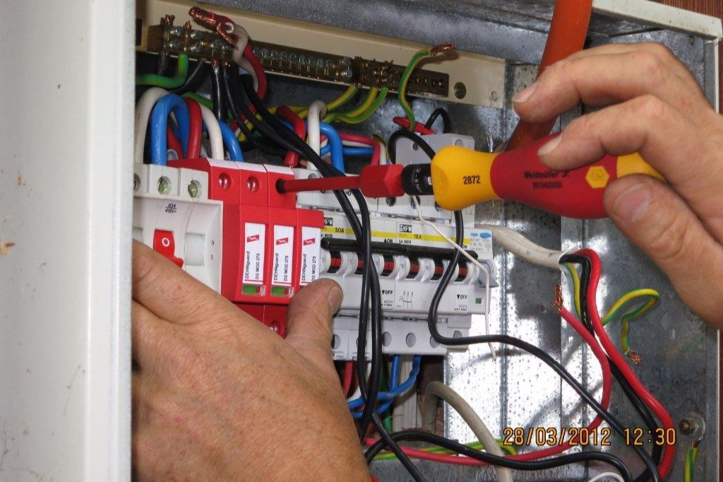 AC surge protection from Dehn ensures protection of the inverter's AC side. All installed to the correct torque.