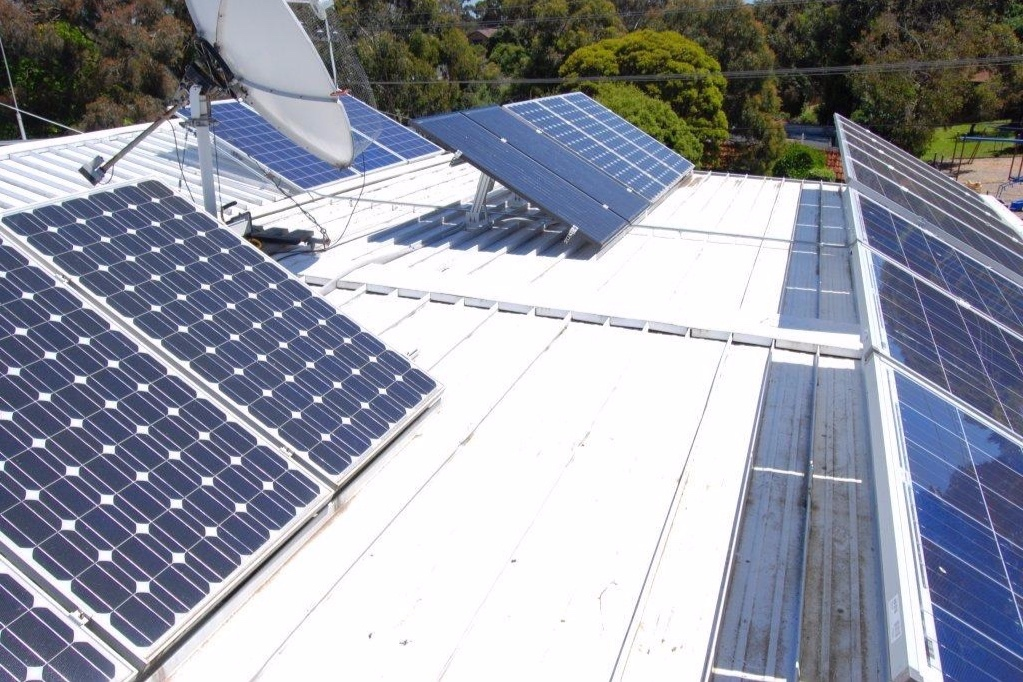New array in the front and at the back, using SolarWorld Poly modules.