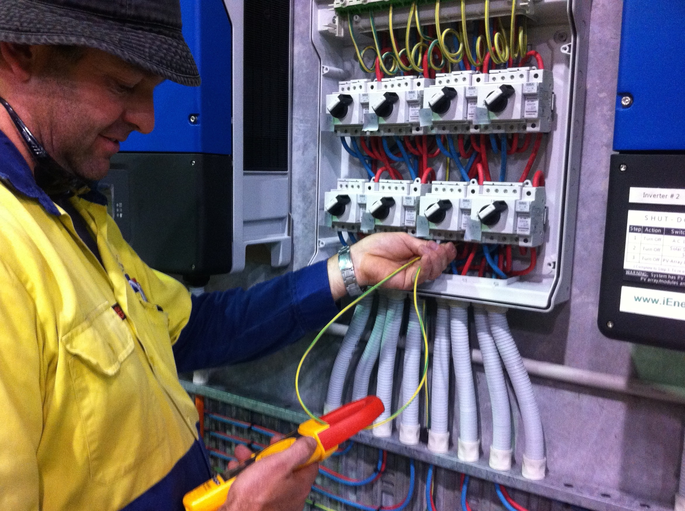 Mark Deutschbein carrying out short-circuit tests at Deks Industries.