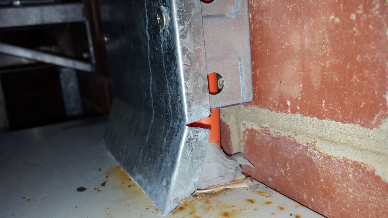 Penetration into a switchboard from above not properly sealed resulting in water ingress into the board. See next image…