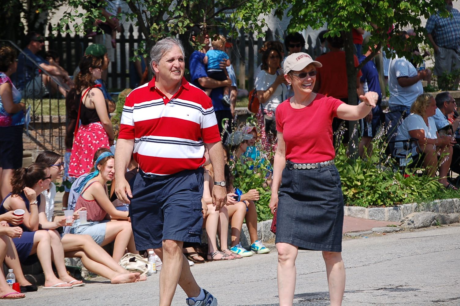 The Fourth of July Parade in Swarthmore with Swarthmore College's then-president Rebecca Chopp.