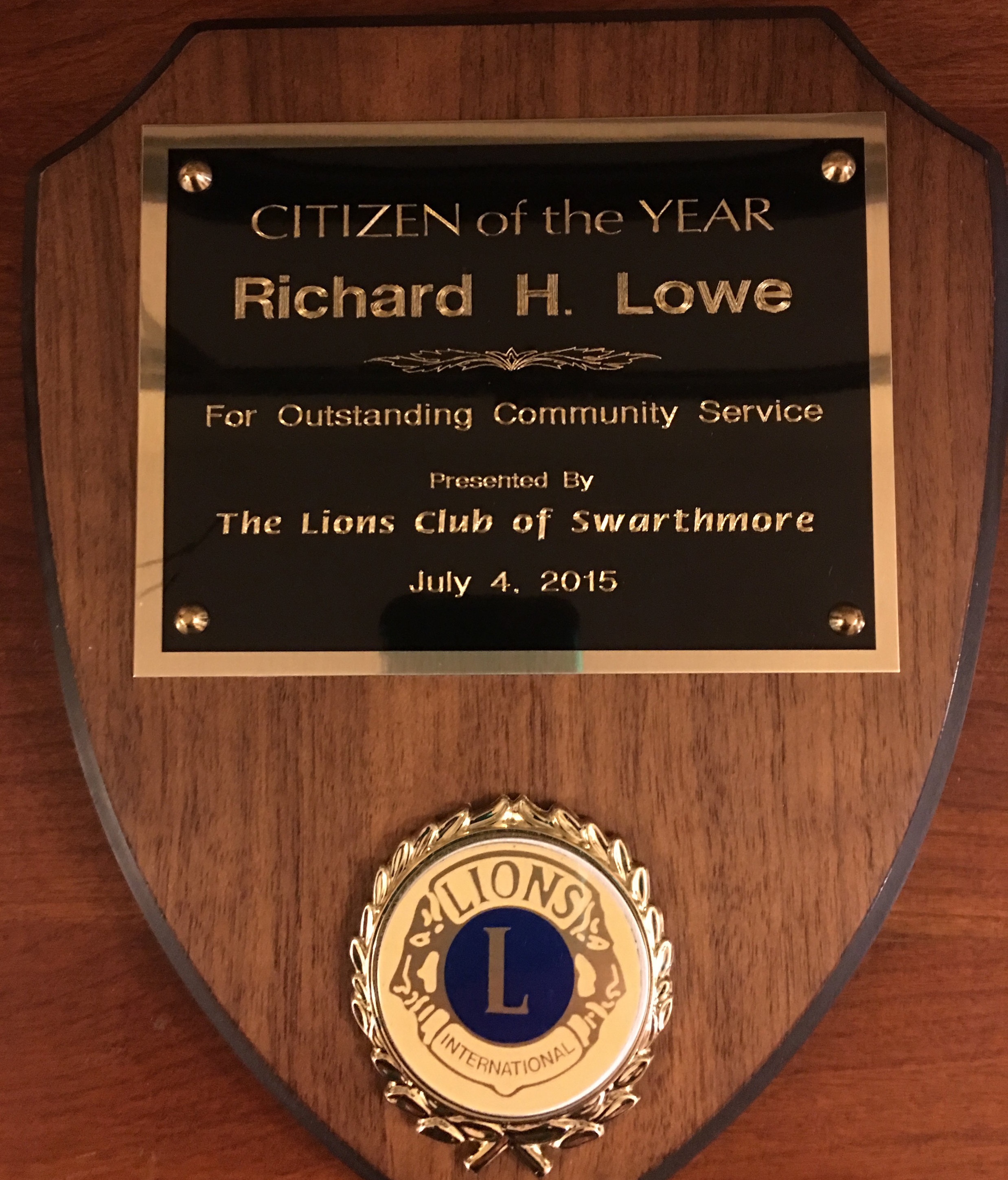 Rick was named Swarthmore's Citizen of the Year in 2015. -