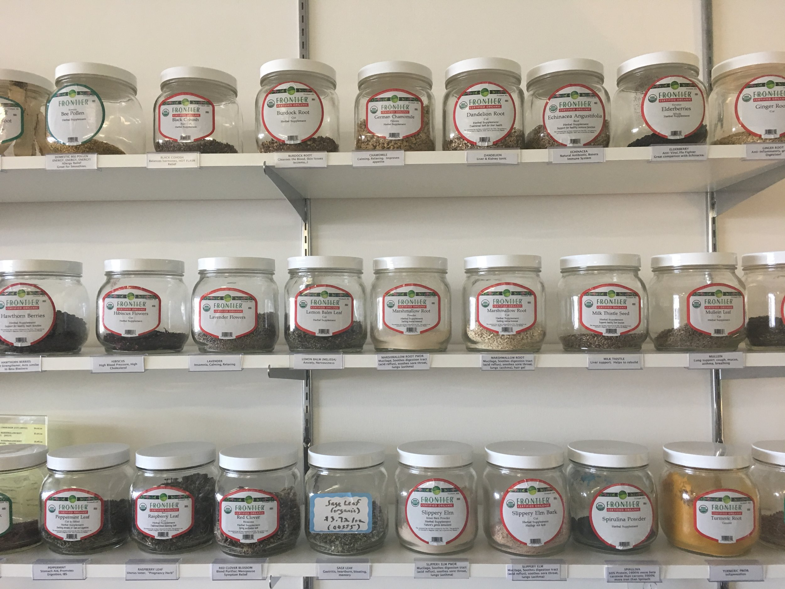 Bulk Herb Selection - We can always special order.