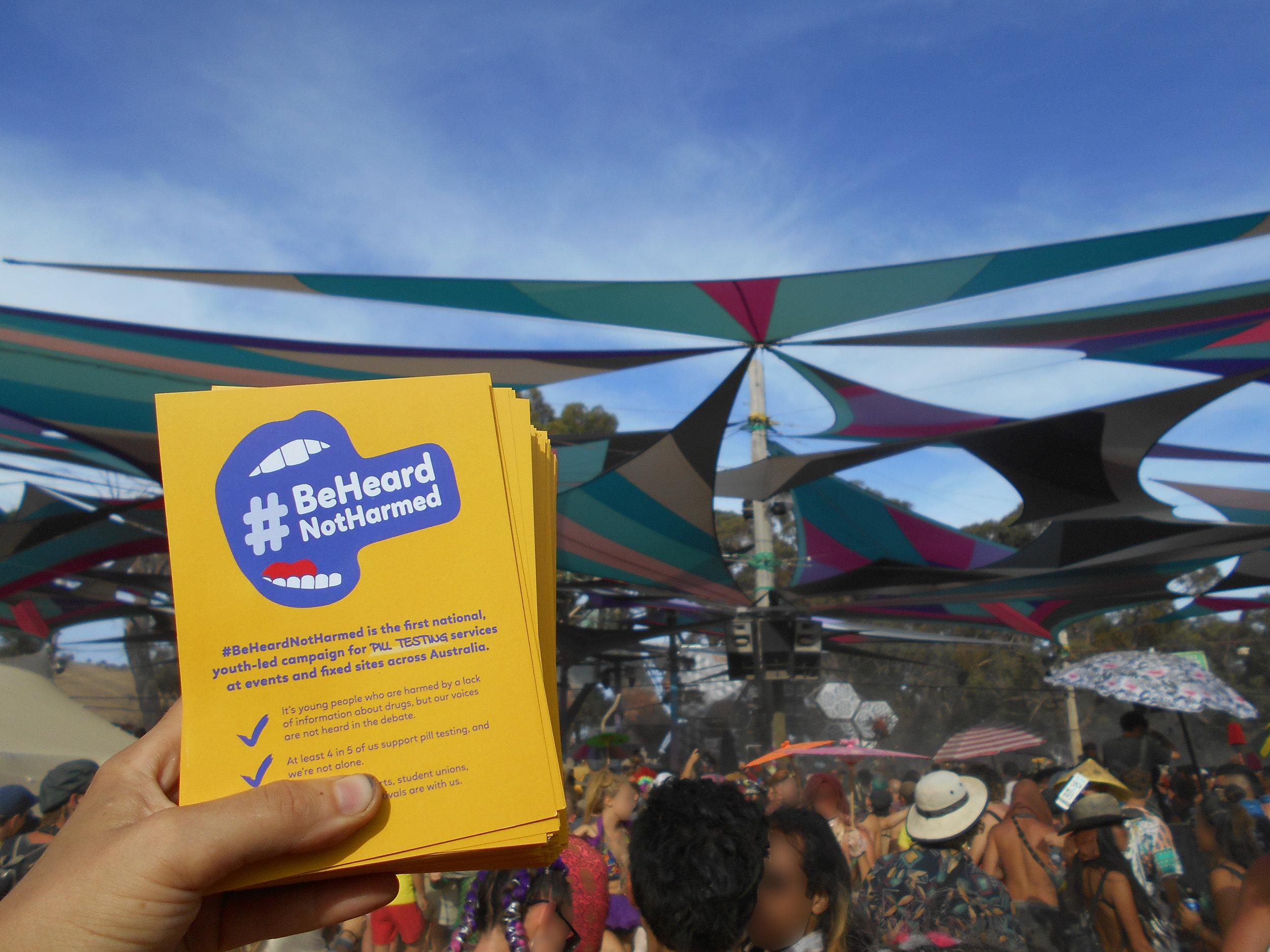 Handing out flyers on the dancefloor at Rainbow Serpent.jpg