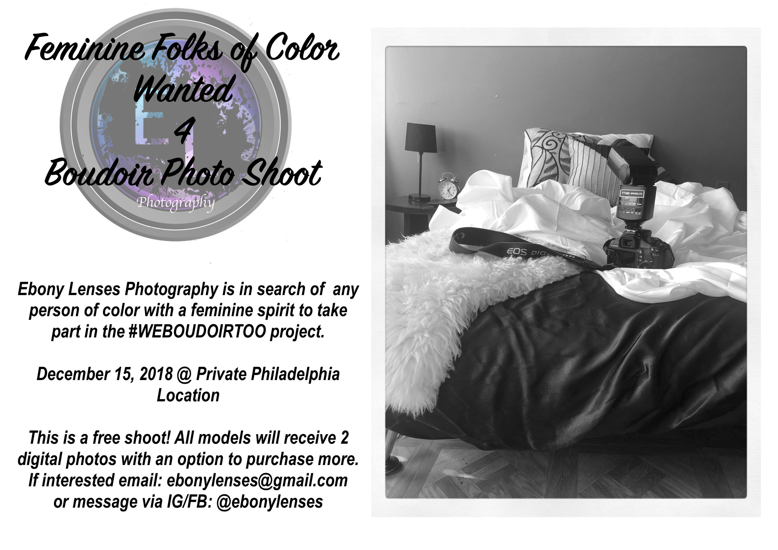 Flyer I made to advertise the shoot.
