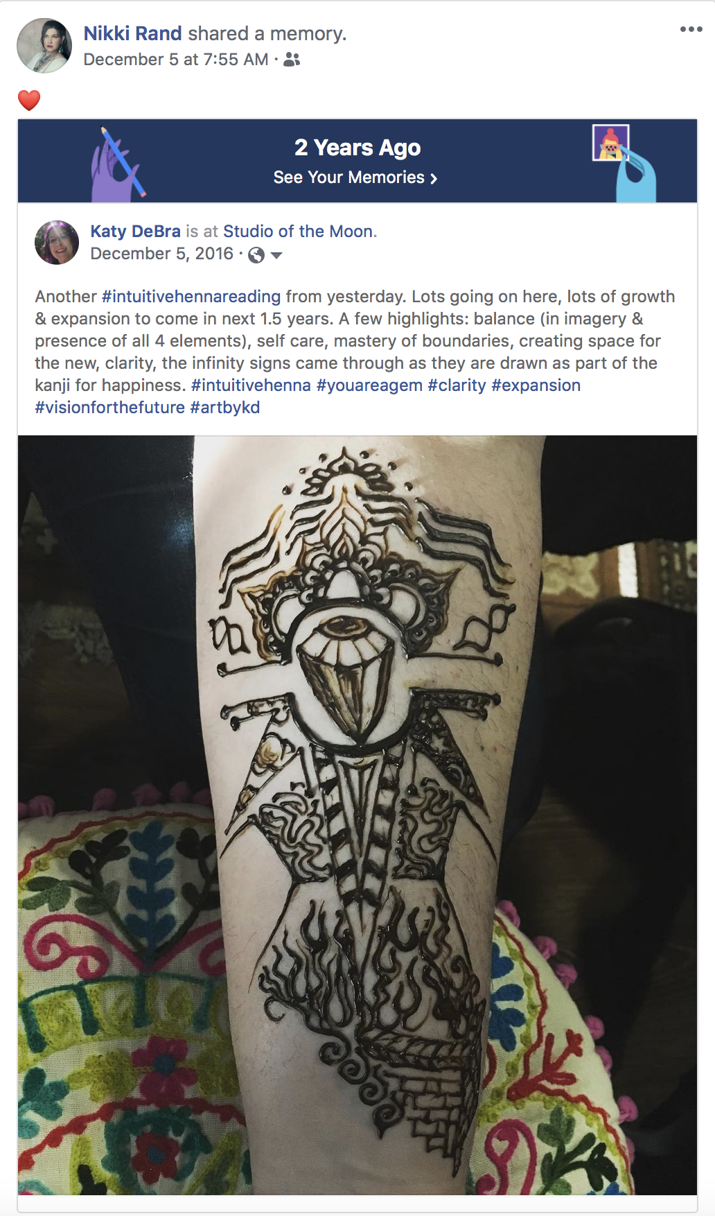 Intuitive Henna Reading - An Intuitive Henna Reading for Nikki Rand, now priestess and Reiki practitioner, two years later. This art came through in December 2016, and she just reposted the memory here in December 2018. Clearly, she is a gem.