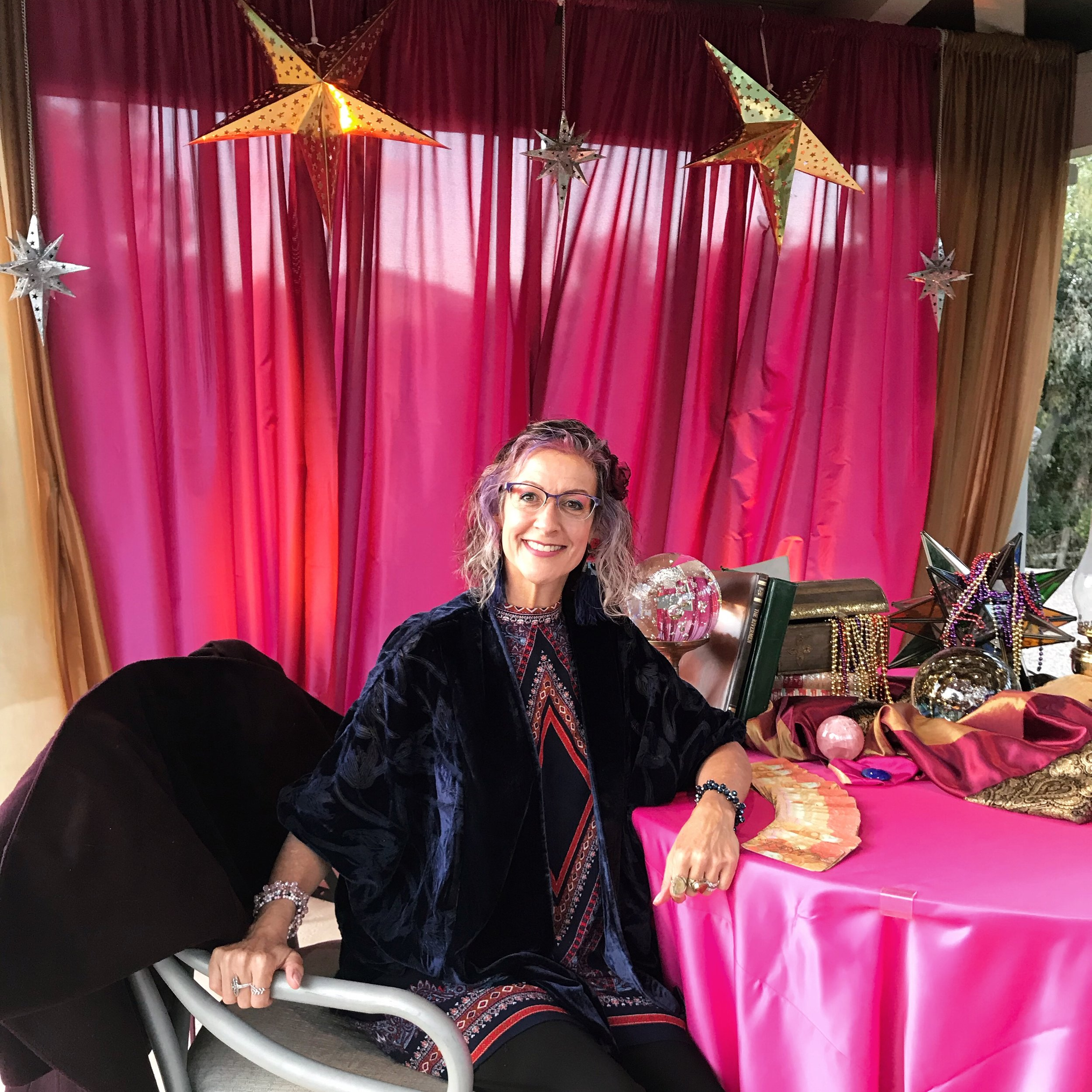 Katy ready to read … Intuitive readings via tarot cards at an event.