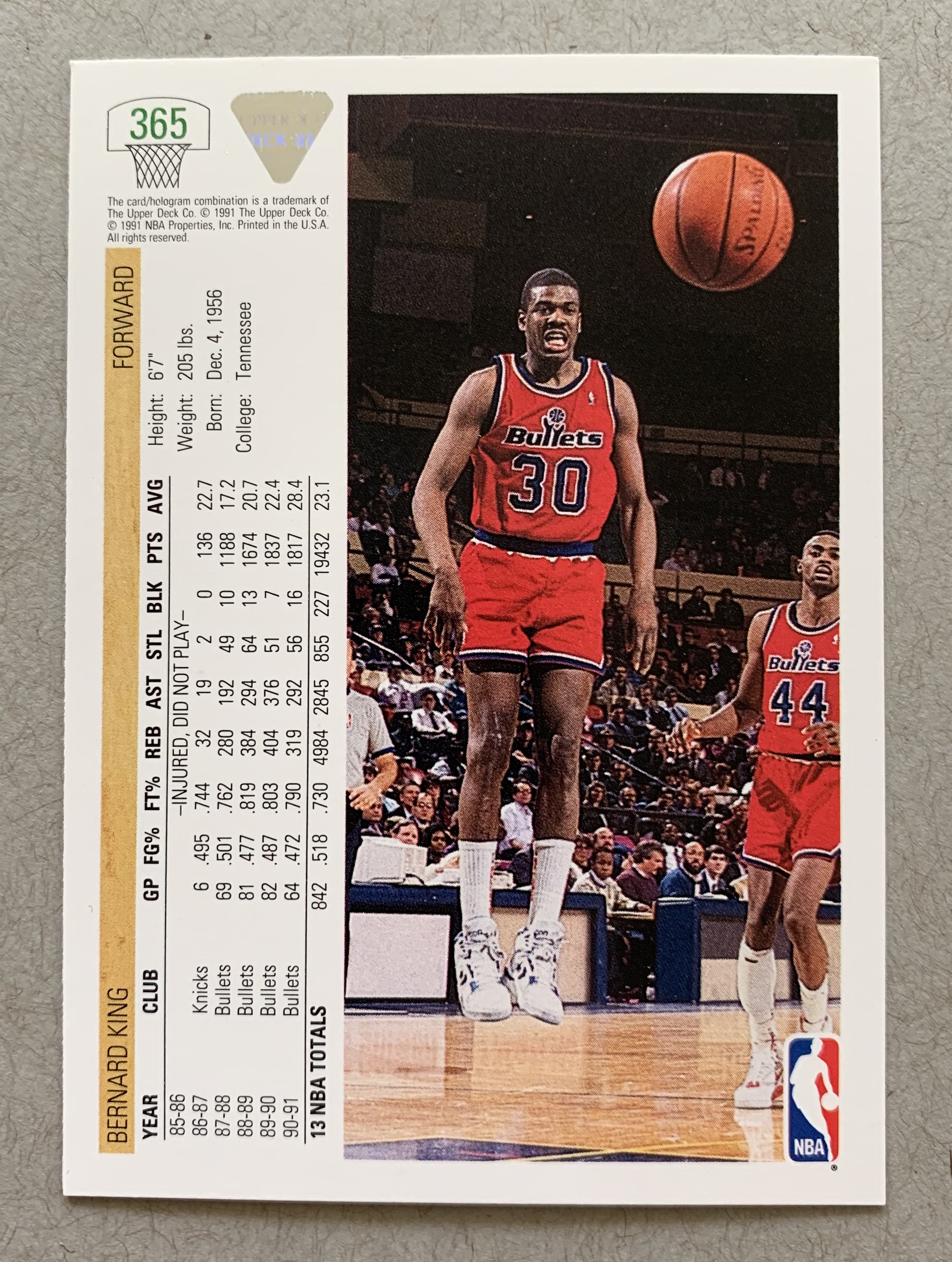 Every blog posts needs a picture. This felt like a good place to put a worthless card from the sports card boom. Nothing against Bernard King. He was a great NBA player. Incredible scorer. Why not show the back of a worthless card while I'm at it? But, you know what, the back of this card is pretty cool too. Great photo. Don't get that today, even when buying $1000 packs. The Upper Deck hologram is there too, just so you know for sure that it's not counterfeit. Big bucks at stake in the counterfeit 1990-91 Upper Deck Bernard King market. RIP Washington Bullets, reincarnated as Wizards.