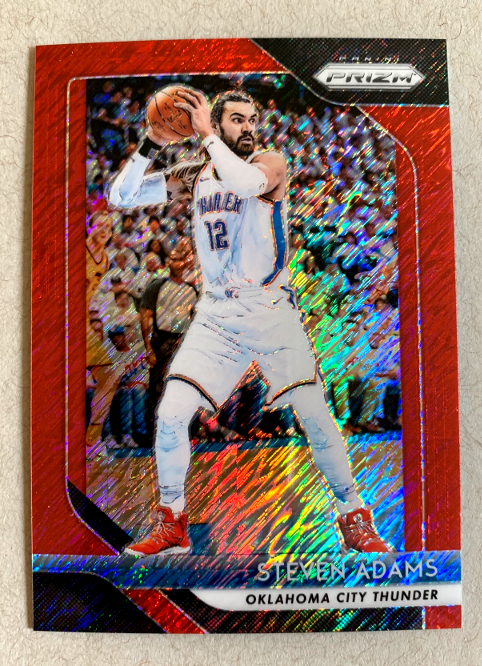 Here's the Steven Adams Red Shimmer parallel from box #2. This parallel is one of 3 that are exclusive to FOTL boxes which are each serial numbered out of 7.